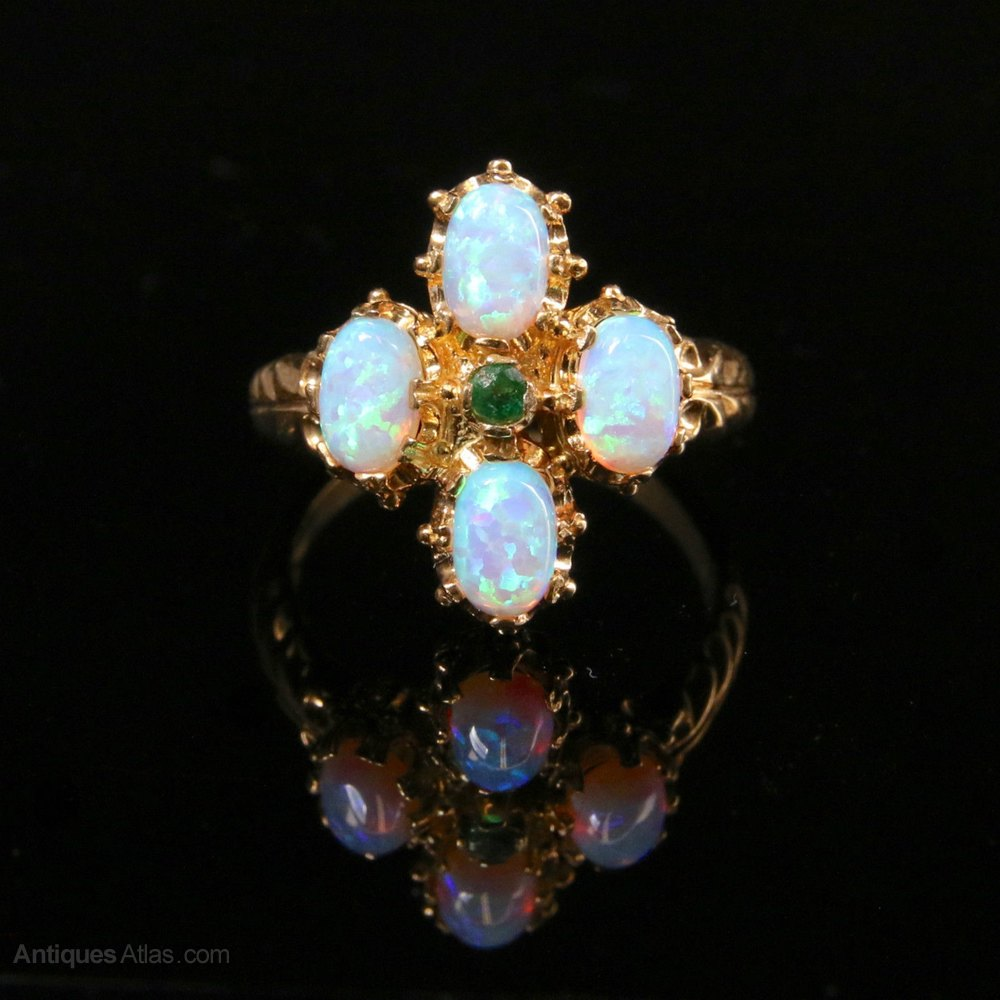 antiques atlas antique georgian opal emerald ring