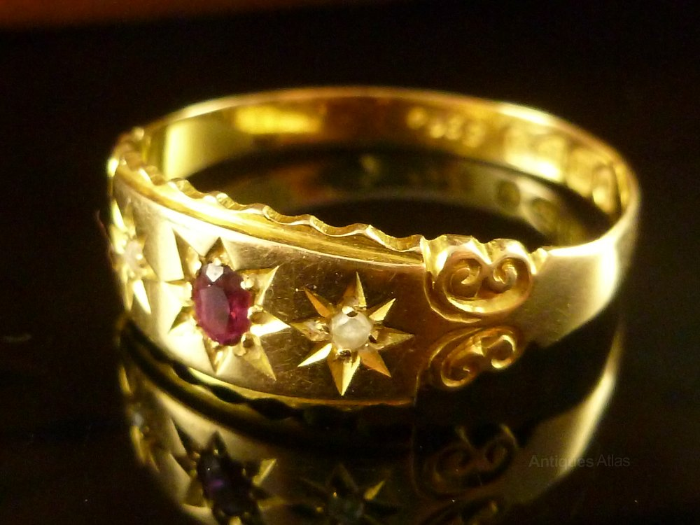 Antiques Atlas Antique Ruby Amp Diamond Gypsy Set Ring 1898