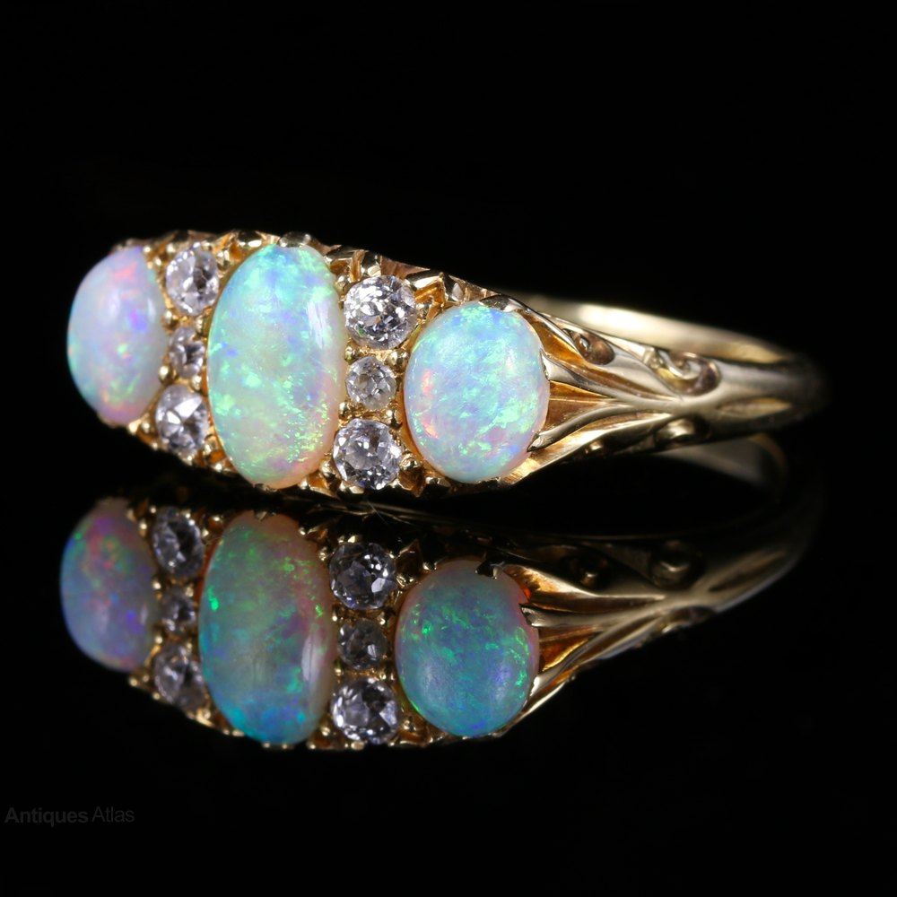 antiques atlas antique opal ring 18ct gold