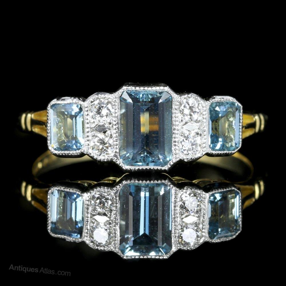 Antiques Atlas Art Deco Aquamarine Diamond Engagement Ring