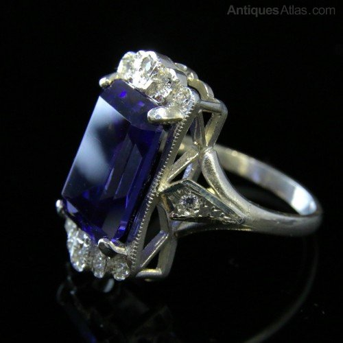 Antiques Atlas Art Deco Style Tanzanite Amp Paste Ring 7ct