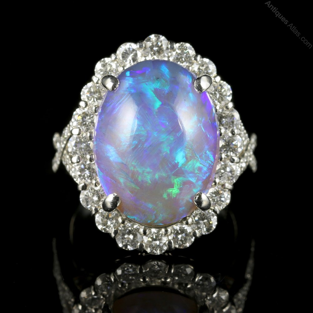 Antiques Atlas Black Opal Diamond Ring Platinum 16ct