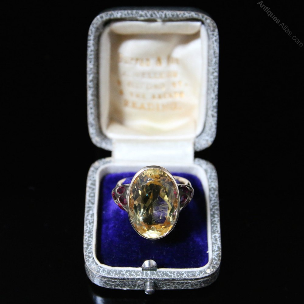 Antique Lemon Citrine Gold Ring