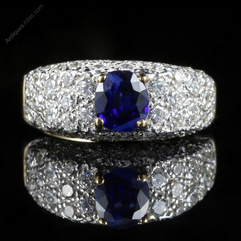 Antiques Atlas Diamond Sapphire Engagement Ring