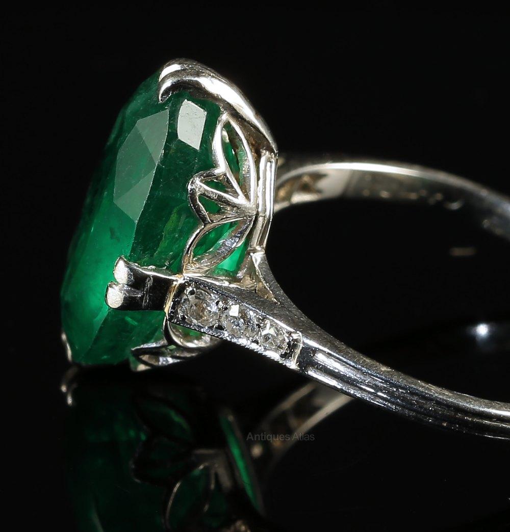 antiques atlas edwardian emerald ring 7 5ct emerald