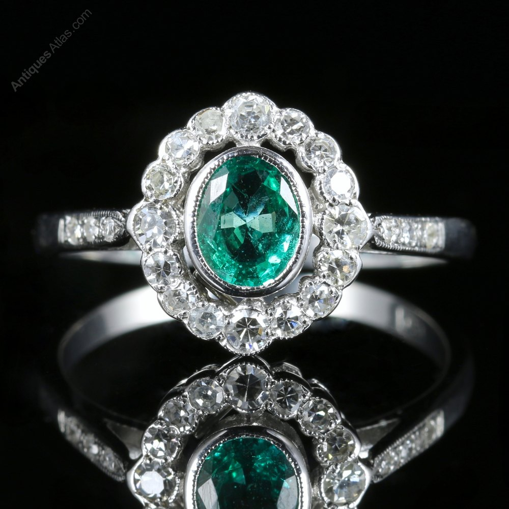 Antiques Atlas Edwardian Emerald Amp Diamond Ring 18ct