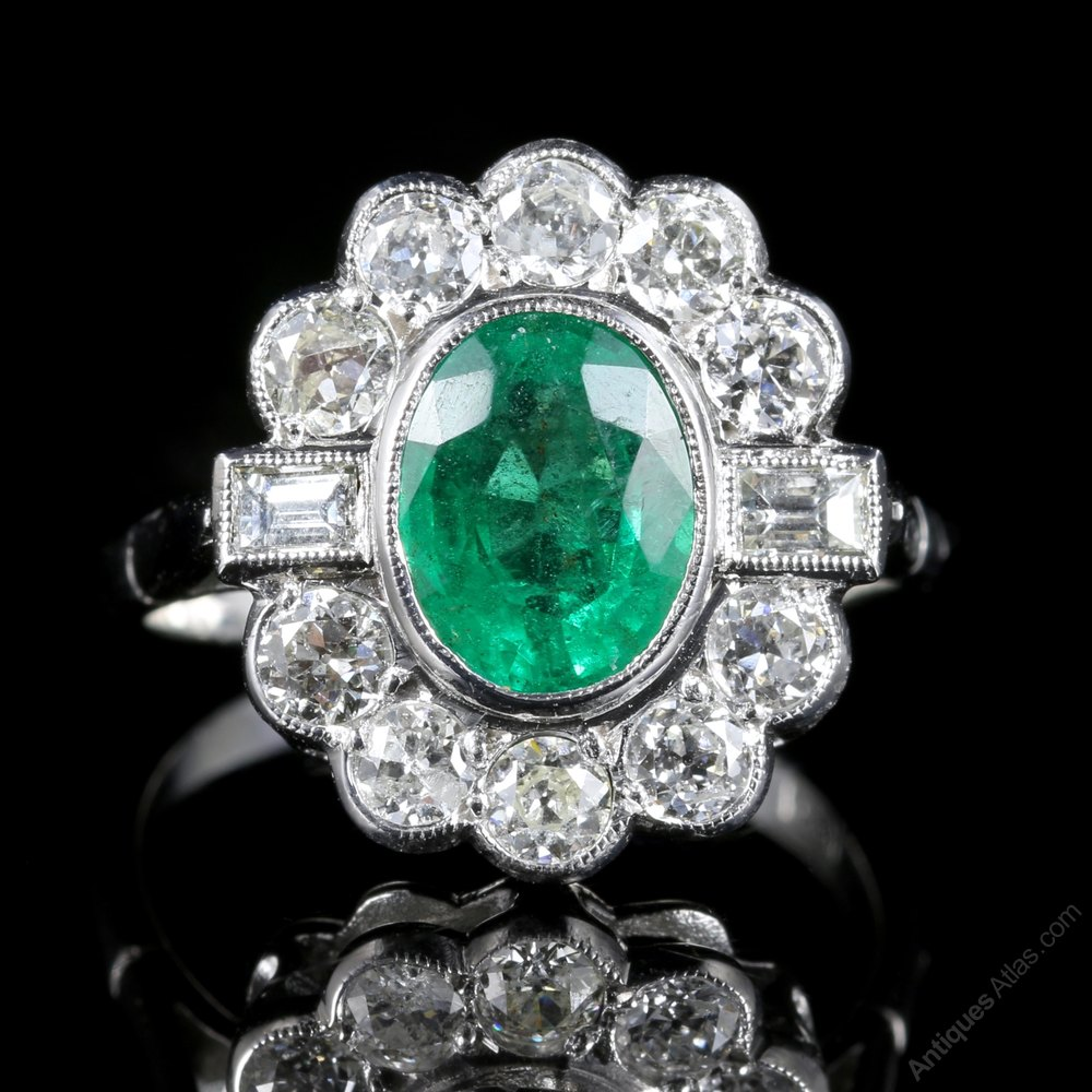 Antiques Atlas Emerald Diamond Cluster Ring 18ct White Gold