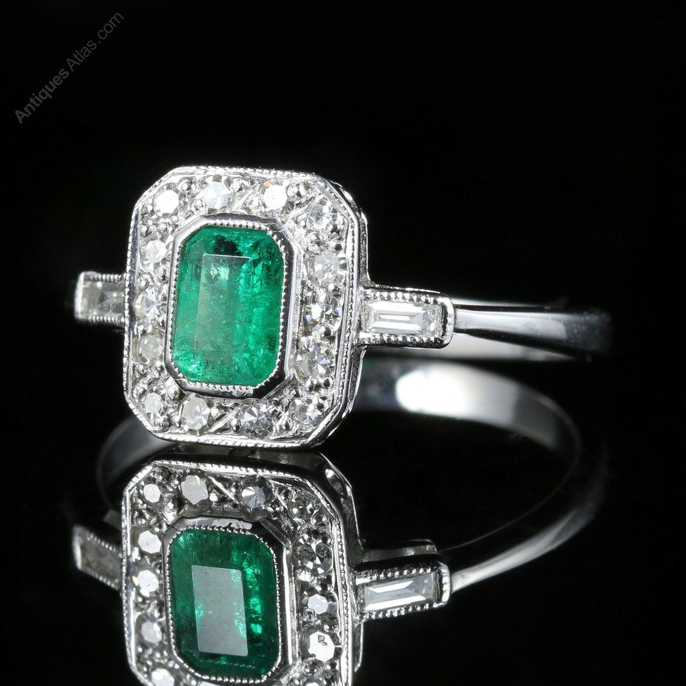 antiques atlas emerald deco engagement ring