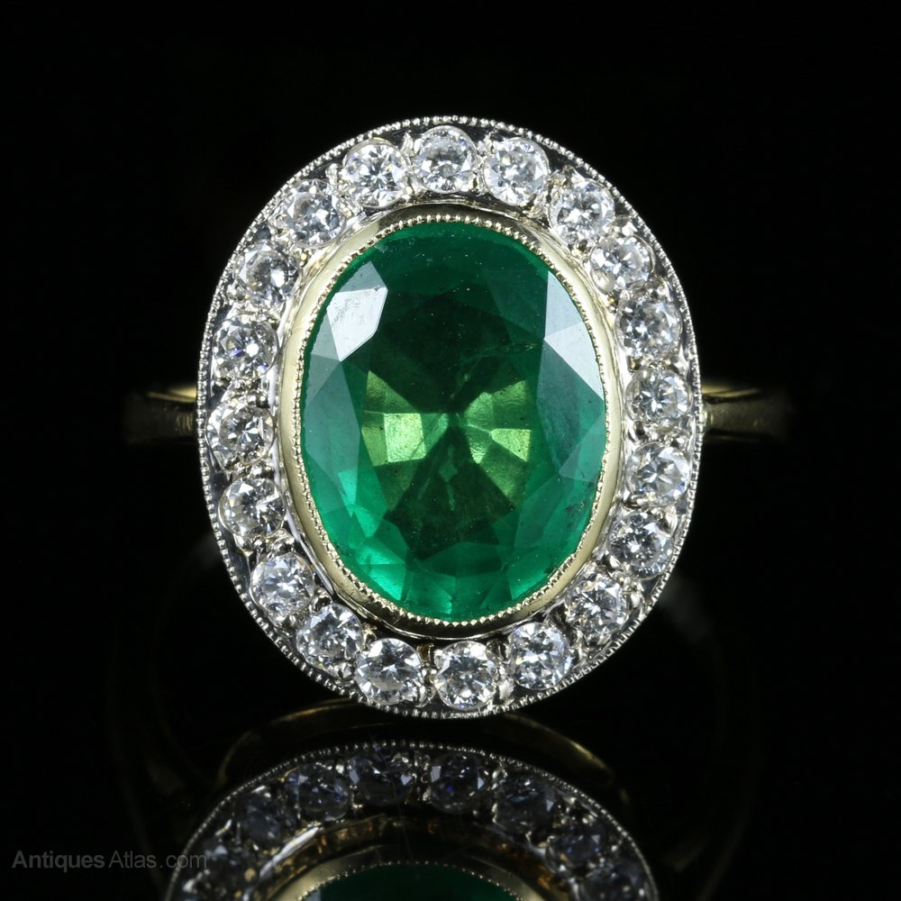 Antiques Atlas Emerald Diamond Engagement Ring 18ct Gold