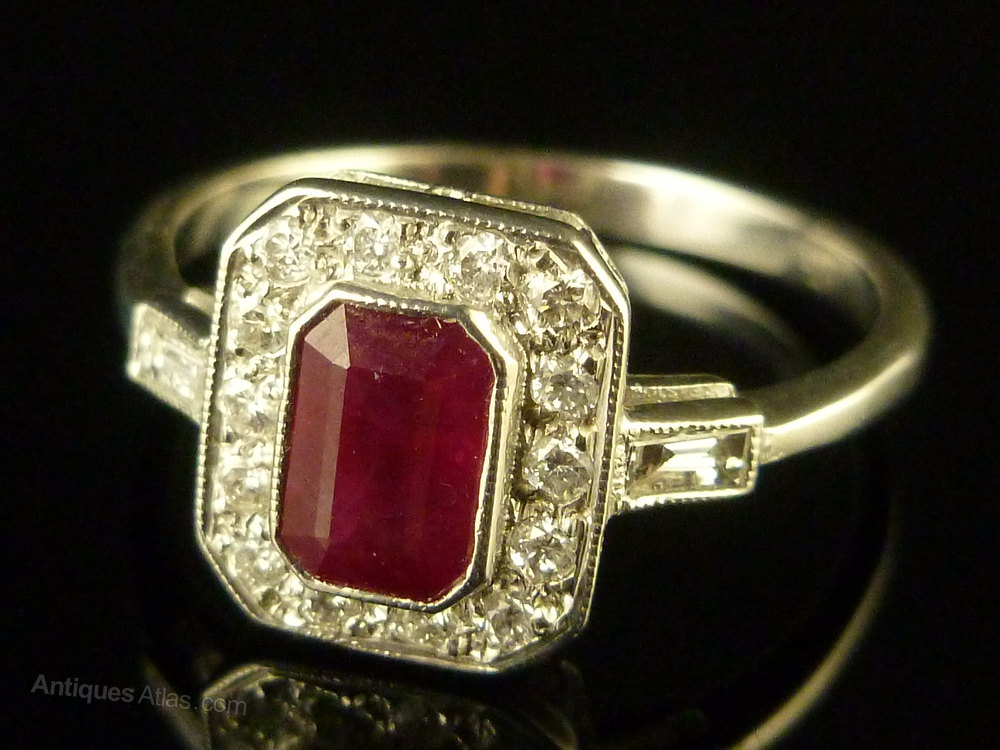 Antiques Atlas Fabulous Emerald Cut Ruby & Diamond Ring