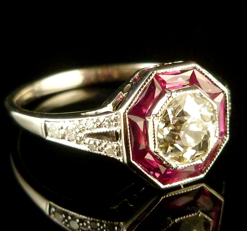 Antiques Atlas French Cut Ruby Amp Old Cut Diamond 18ct