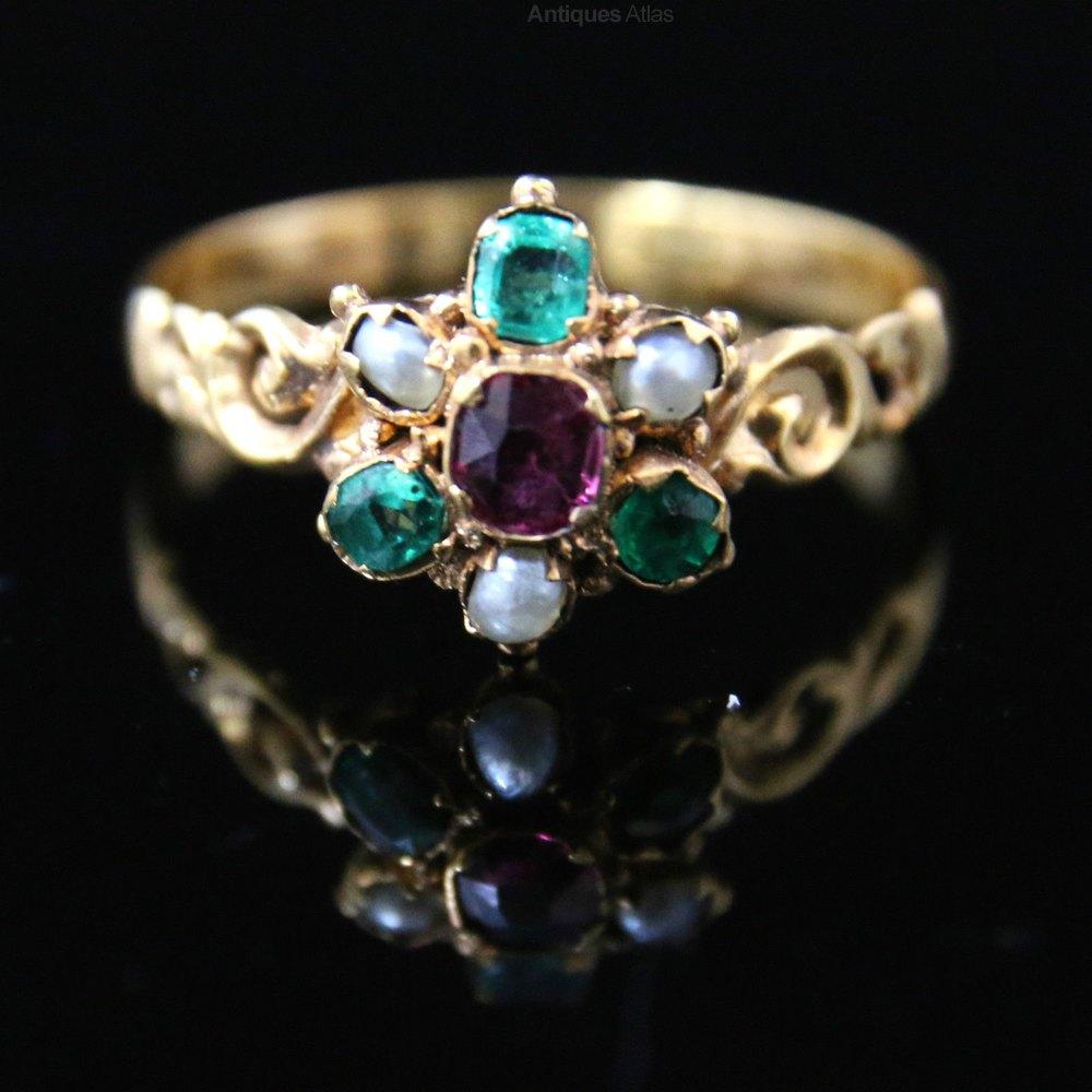 antiques atlas georgian ring garnet emerald pearl