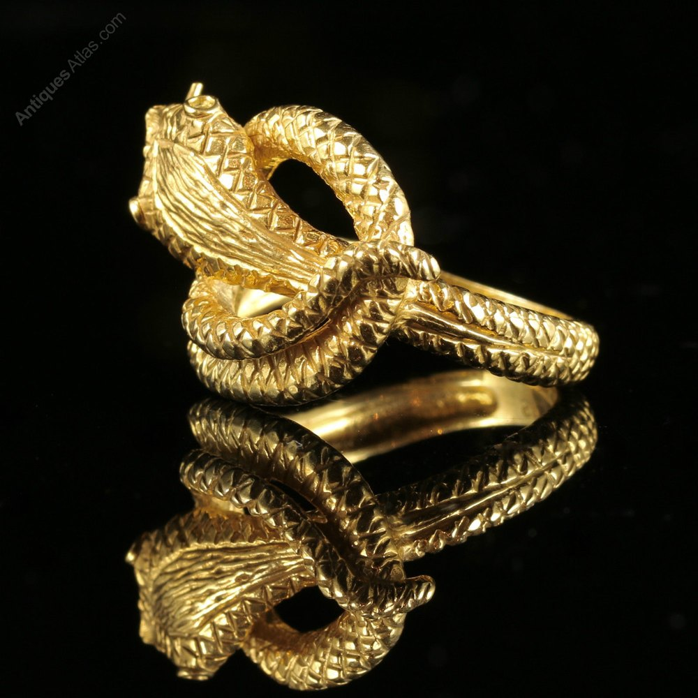 antiques atlas gold serpent snake ring 18ct silver
