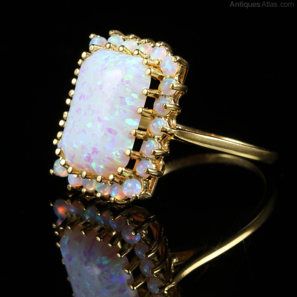 antiques atlas opal cluster ring emerald cut 12ct