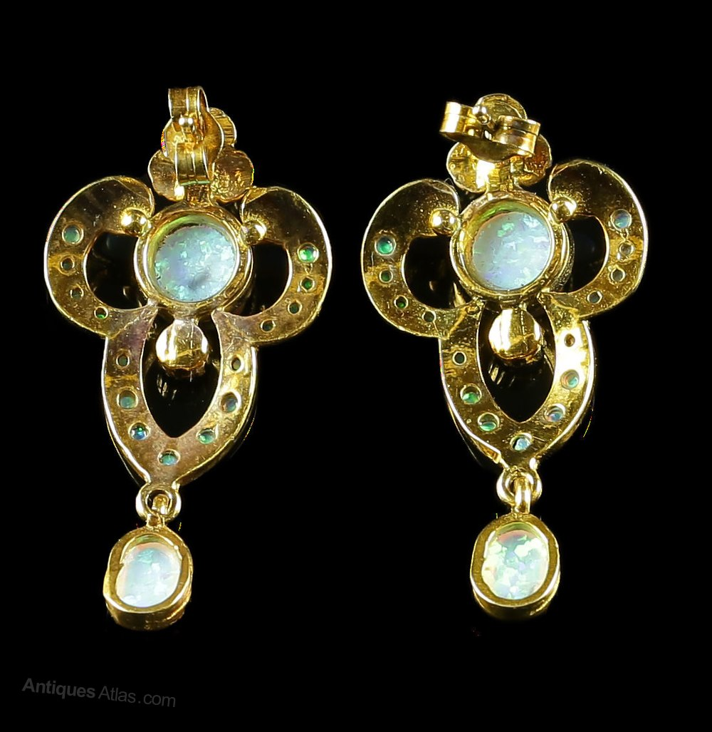 antiques atlas opal drop earrings