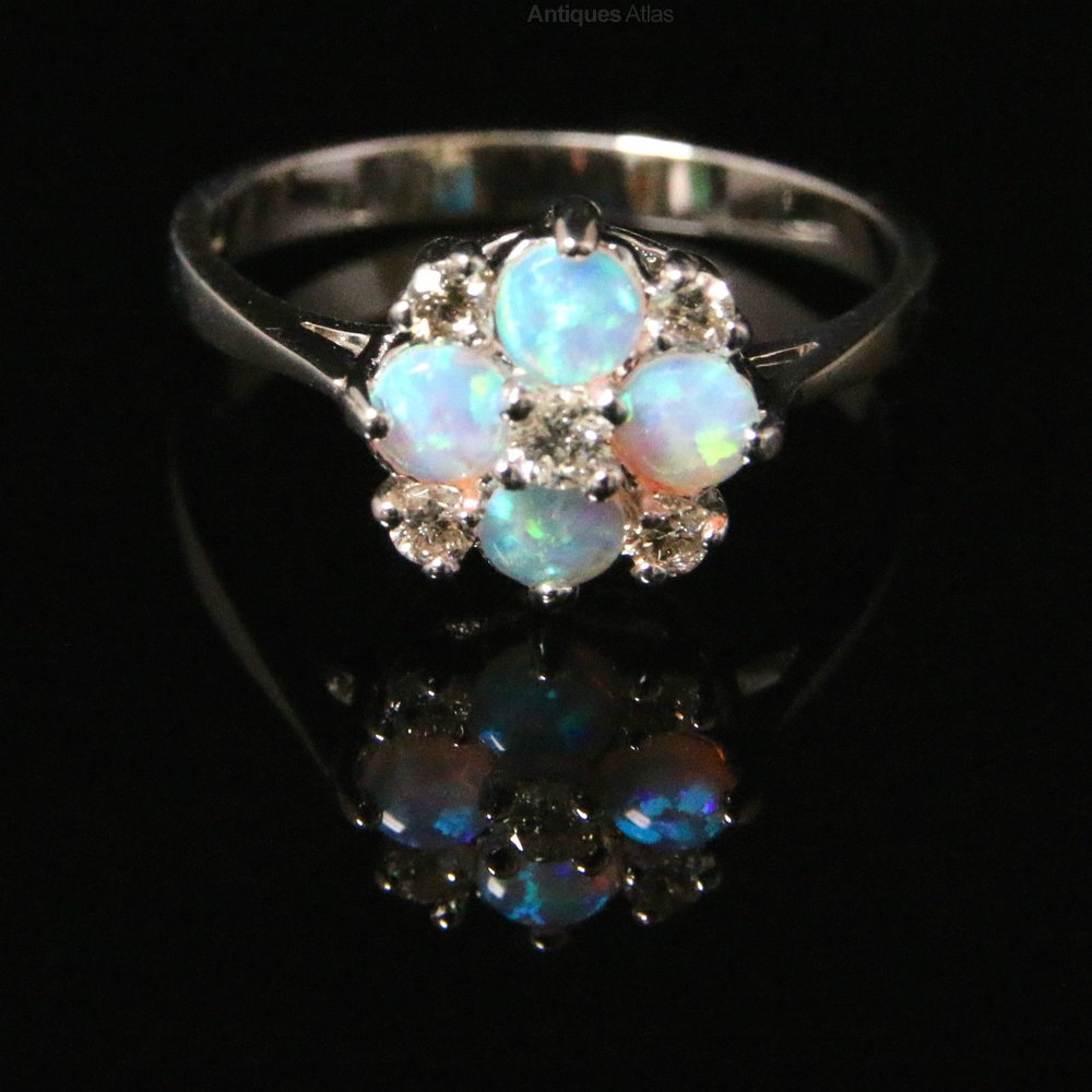 antiques atlas opal cluster ring white gold