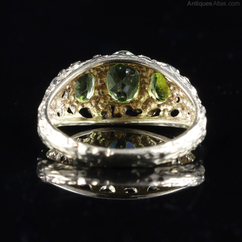 antiques atlas peridot gold ring trilogy of peridots 9ct