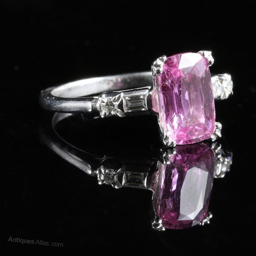 Antiques Atlas Pink Sapphire Diamond Ring 14ct 3ct Pink