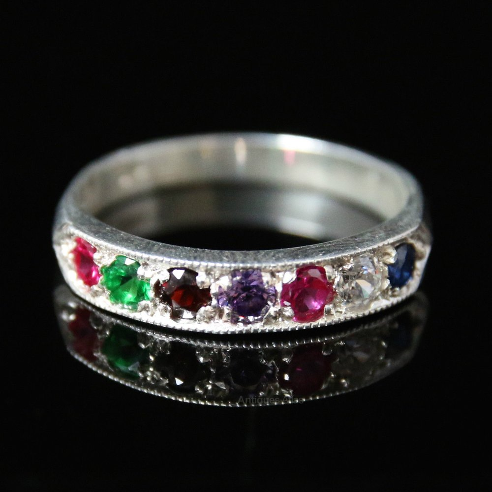 Antiques Atlas Ring Ruby Emerald Garnet Amethyst Diamond