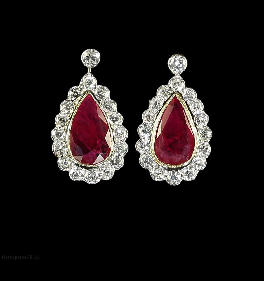 Antiques Atlas - Ruby Diamond Earrings 18ct Gold 8.6ct ...