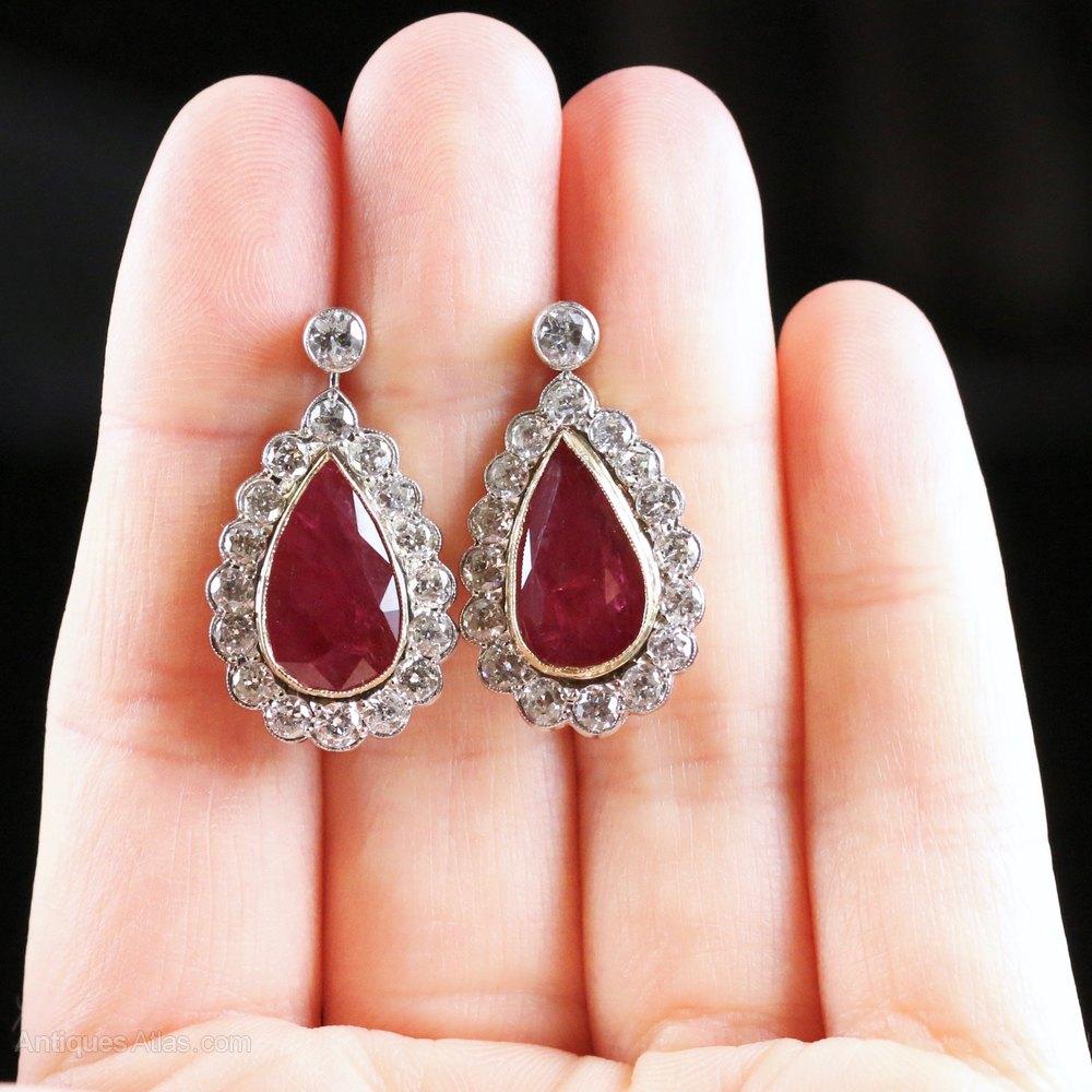 Antiques Atlas Ruby Diamond Earrings 18ct Gold 8 6ct