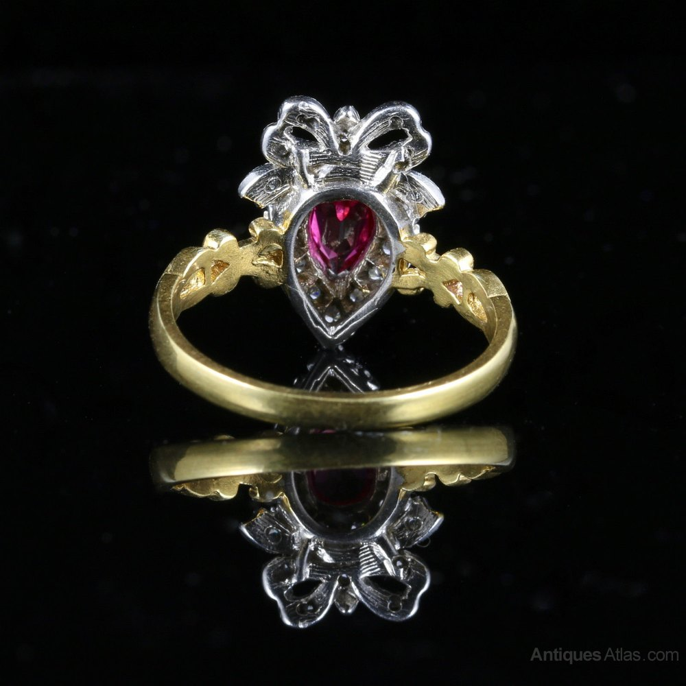 antiques atlas ruby paste ring silver gold