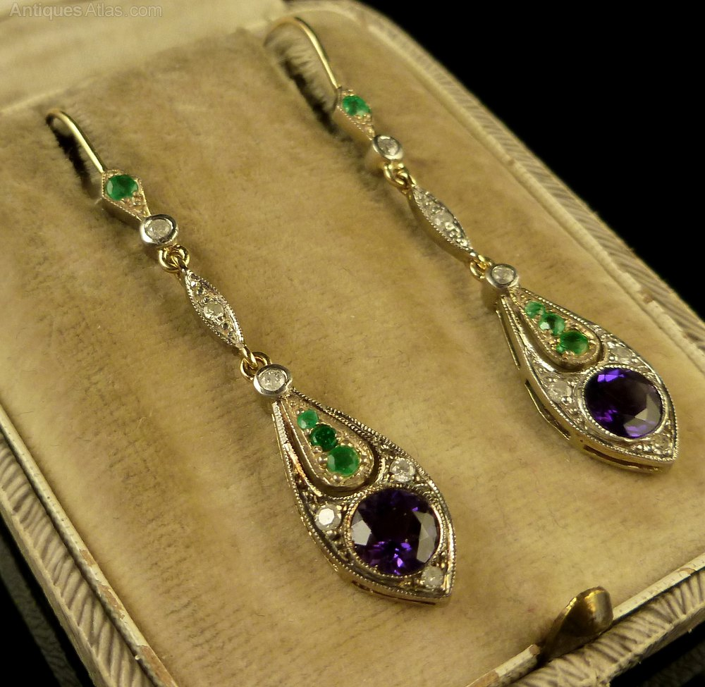 Antiques Atlas Long Diamond Emerald Amp Amethyst Earrings