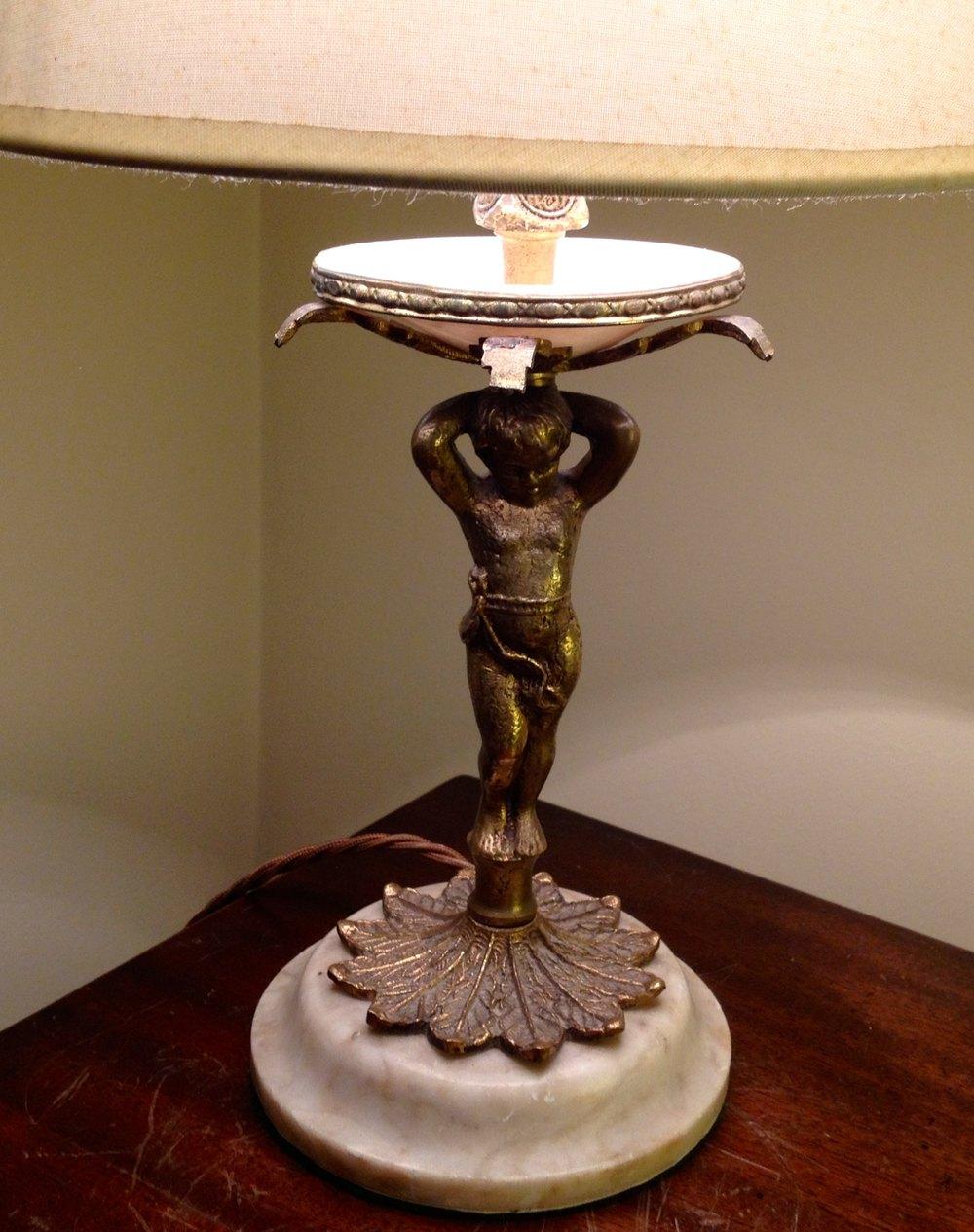 Antiques Atlas 1800 Cherub Bronze On Marble Table Lamp