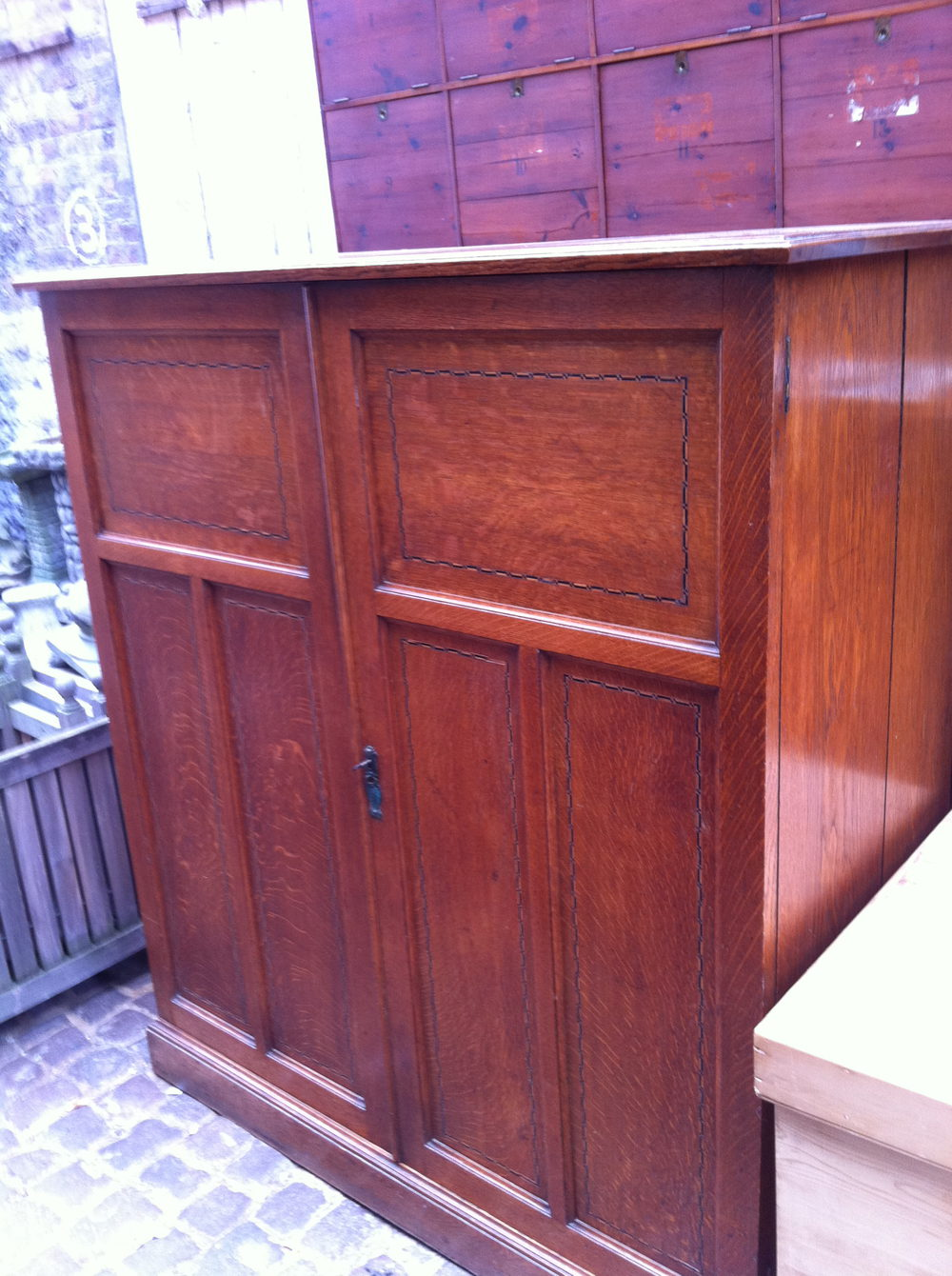 Art nouveau inlaid scholl cupboard in solid oak antiques for 1890 kitchen cabinets
