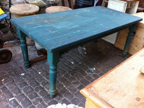 Blue Country Kitchen Table In Pine Antique Kitchen Tables ...
