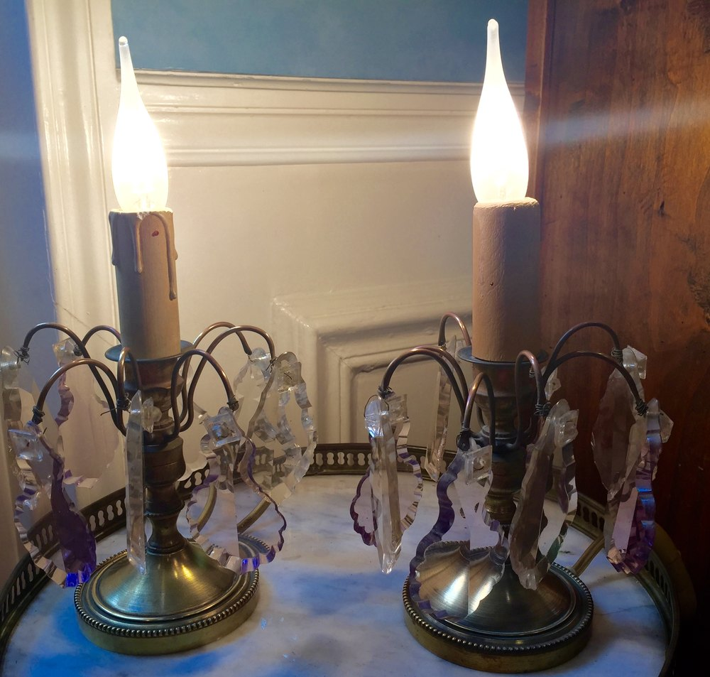 Antiques atlas pair 1920 dressing table lamps for Dressing table lamp lighting