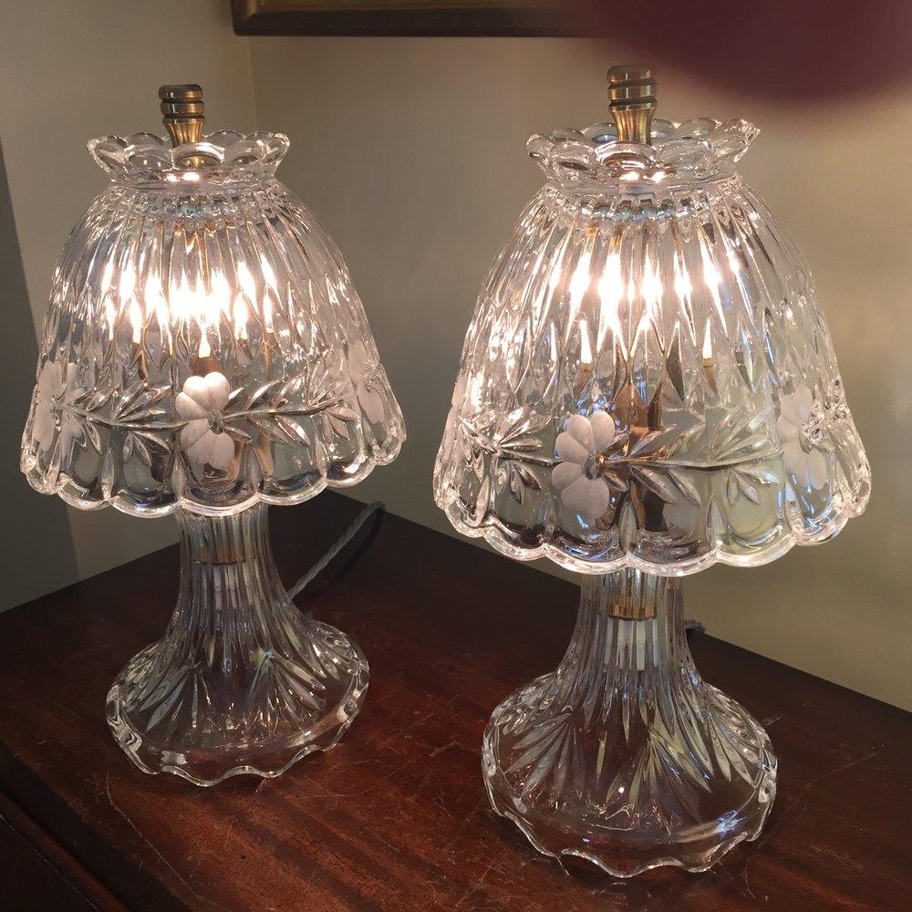 Antiques Atlas Fine Pair Crystal Boudoir Lamps