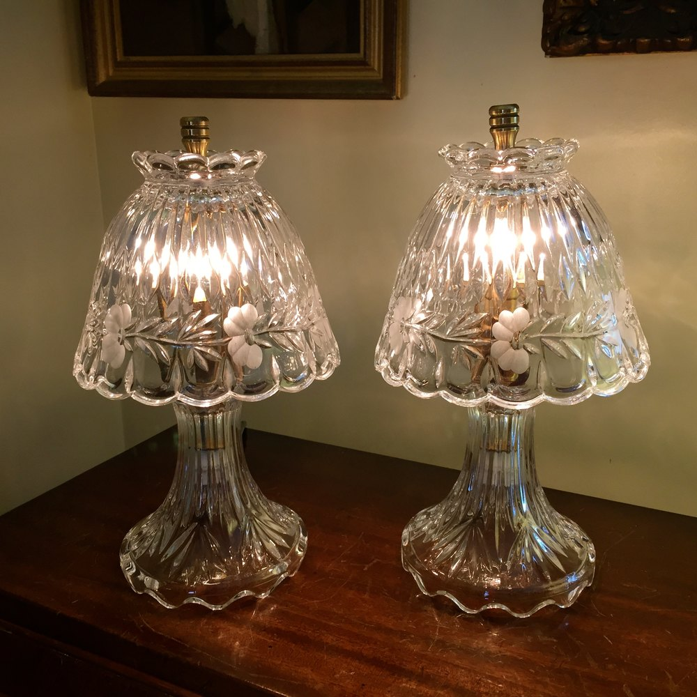 Antiques Atlas Fine Pair Crystal Boudoir Lamps