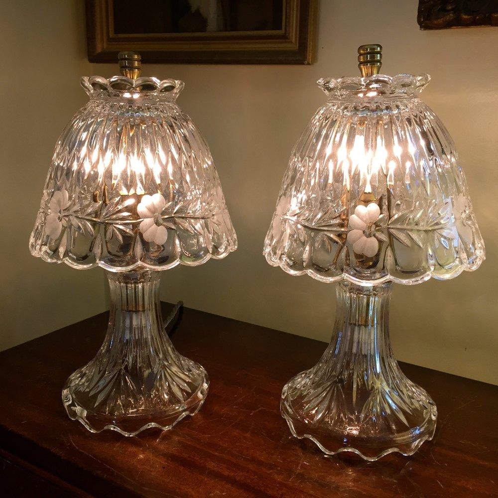 Antiques Atlas - Fine Pair Crystal Boudoir Lamps