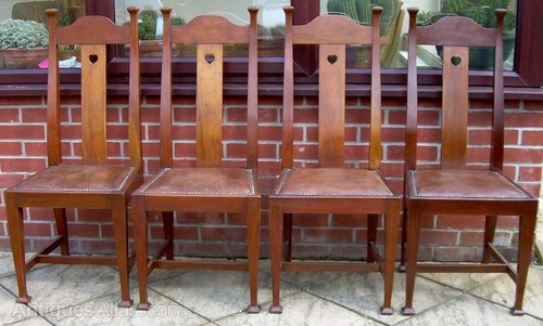 - 4 Walnut Dining Chairs By Walter Cave - Antiques Atlas