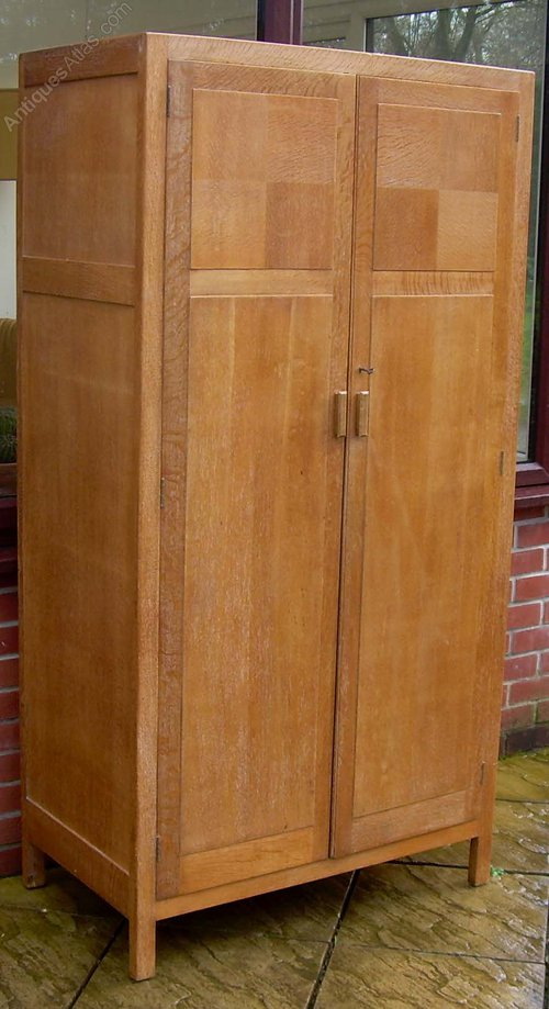 A 1930's Limed Oak Wardrobe