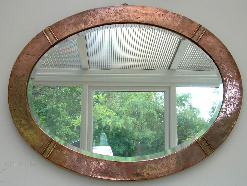 Large oval late arts amp crafts copper framed mirror made in 1920