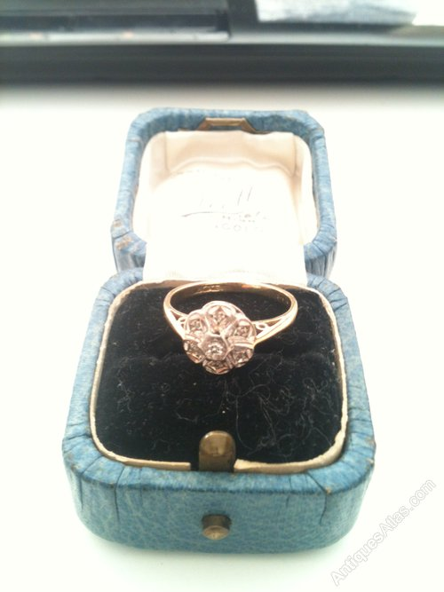 Antiques Atlas Dainty 18 Carat Gold & Platinum Set 7 Diamond Ring