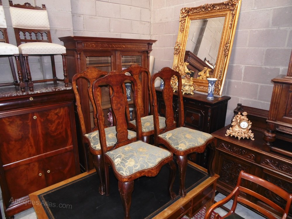 Dutch Queen Anne Marquetry Inlay Dining Chairs Antiques Atlas
