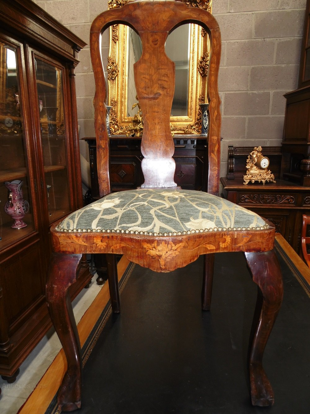 Dutch Queen Anne Marquetry Inlay Dining Chairs Antiques
