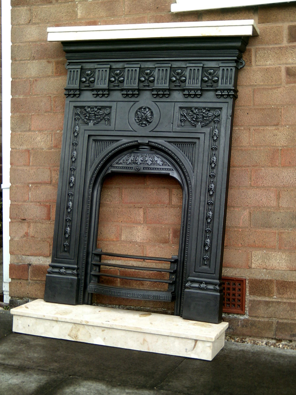 victorian cast iron fireplace surround round designs