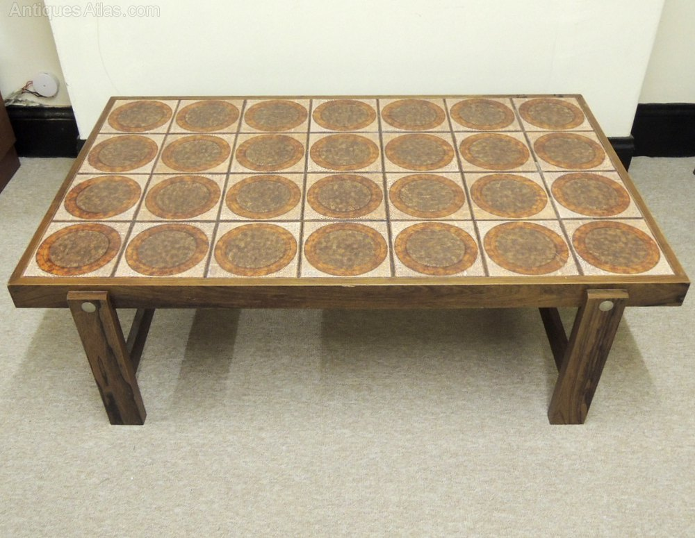 Antiques atlas retro danish tile top coffee table for Tile top coffee table