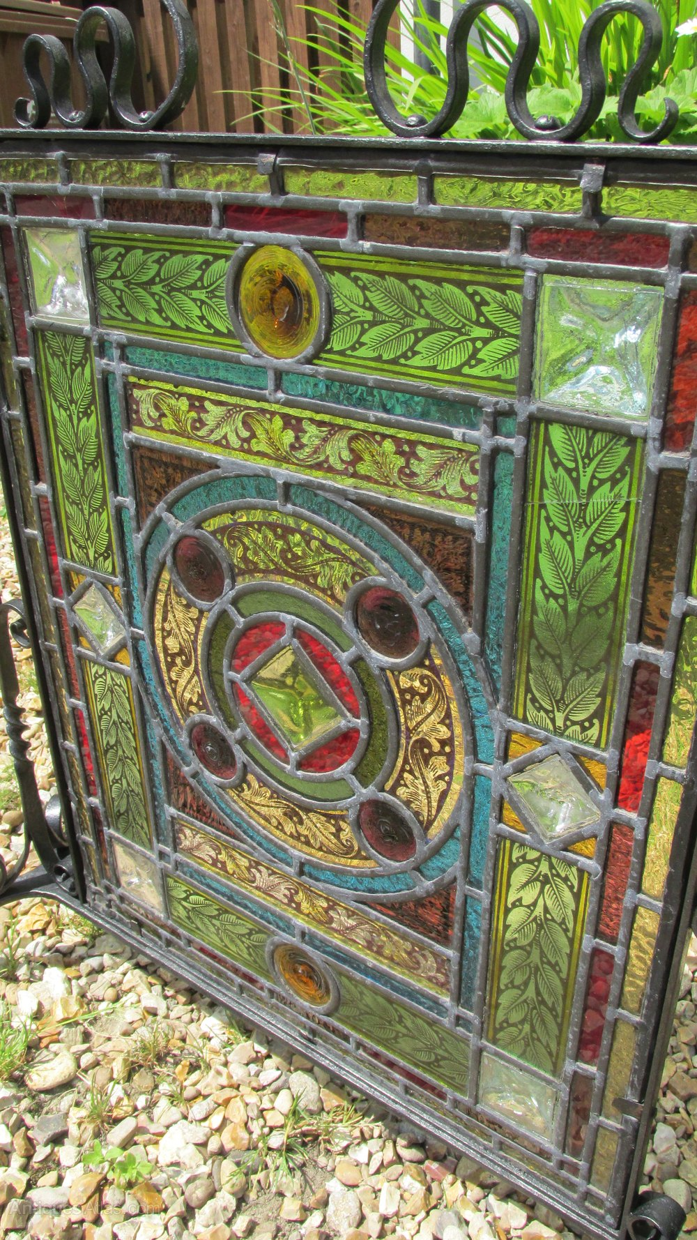 Antiques atlas arts and crafts stained glass firescreen for Arts and crafts glass