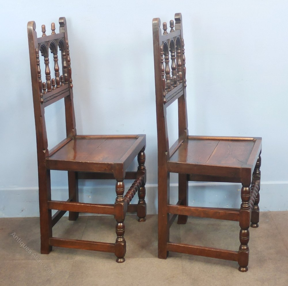 Set of six jacobean style oak dining chairs antiques atlas for Oak dining chairs