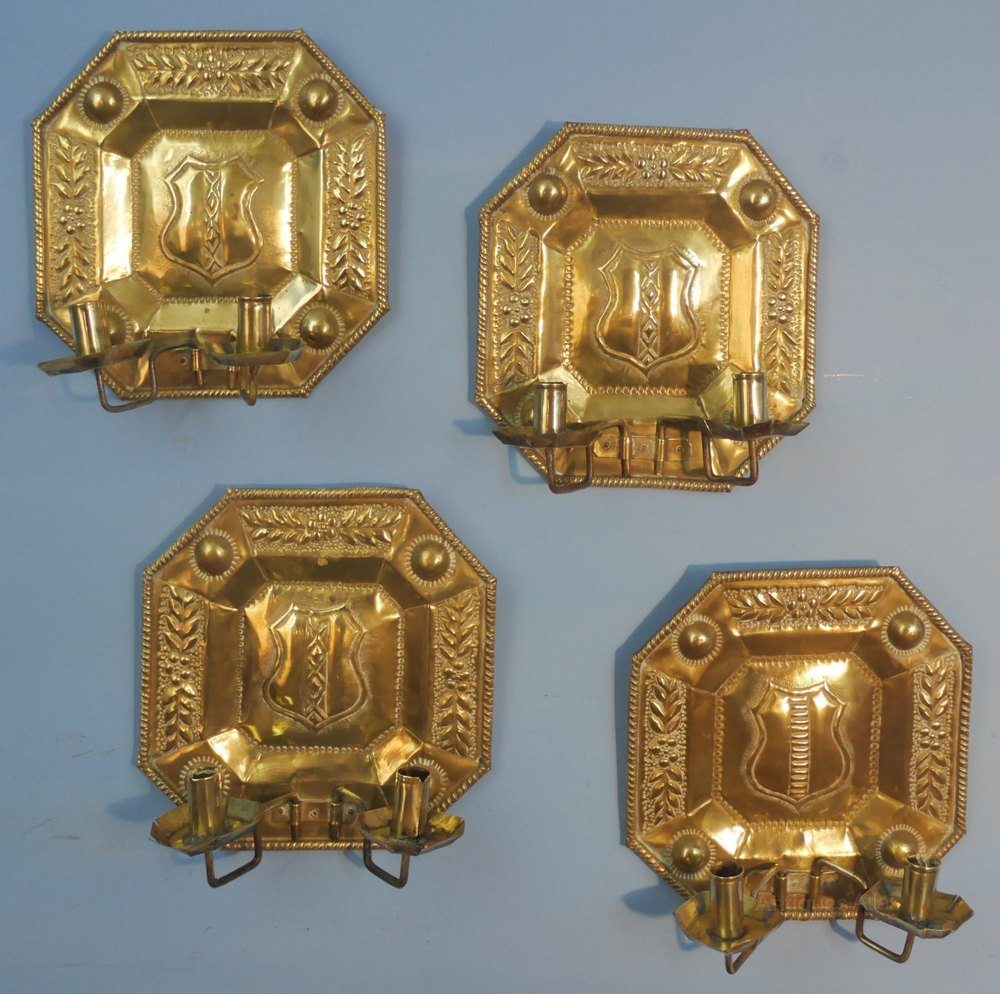 Antique Chandelier Wall Sconces : Antiques Atlas - Set Of Four Brass Wall Candle Sconce Brackets