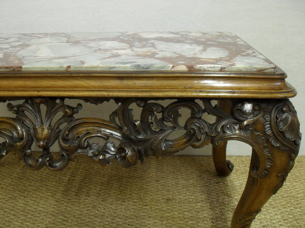 Carved walnut coffee table antiques atlas Carved coffee table