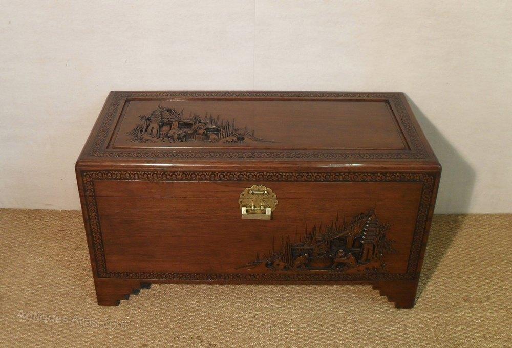 Camphor Wood Chest ~ Oriental camphor wood chest antiques atlas