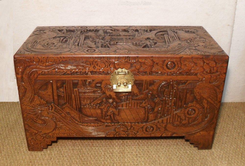 Oriental camphor wood chest antiques atlas