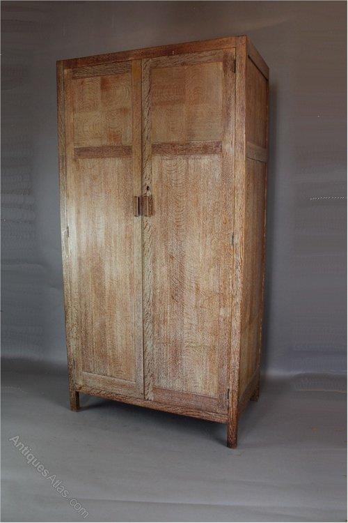 1930s Wardrobes: 1930's Heals Limed Oak Wardrobe From The Russet Range