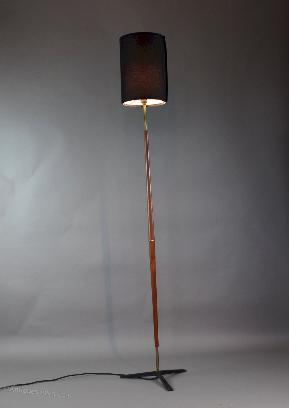 Antiques atlas 195039s mid century modern teak brass for 1950 s brass floor lamp